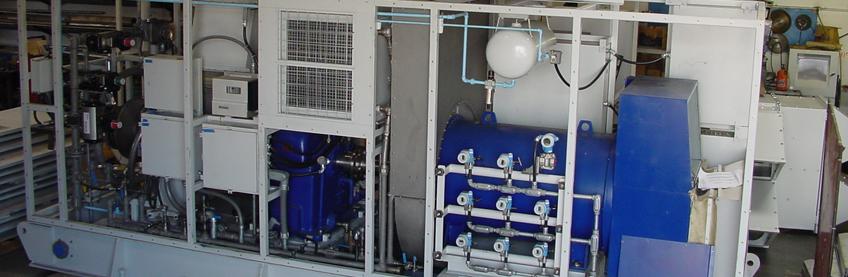 Up-close view of caustic evaporator skid controls