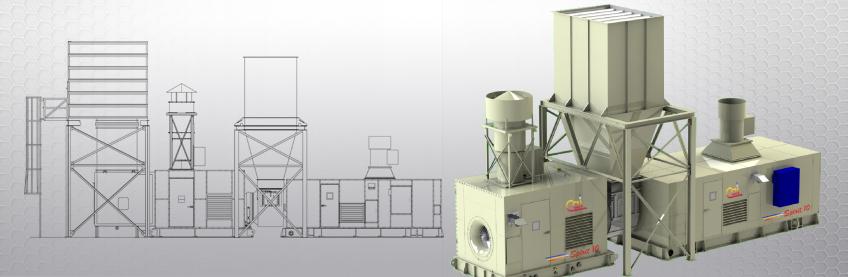 Spirit 10 MW gas turbine generator drawing and 3-D rendering