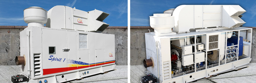 Spirit 1 MW Gas Turbine Gensets; with and without side panel, with inside view