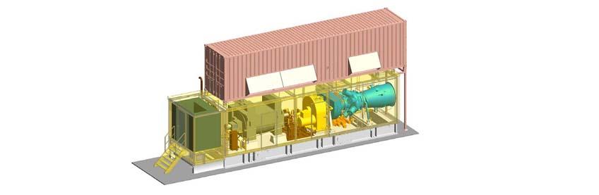 Transparent 3D render of CAI's Spirit 6 MW & 7 MW Gas Turbine Genset